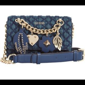 NWOT GUESS Stassie Blue Quilted Mini Crossbody